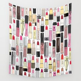 Lipsticks Makeup Collection Illustration Wall Tapestry