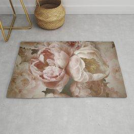 Big Roses And Peonies Soft Pink Vintage Botanical Garden Rug