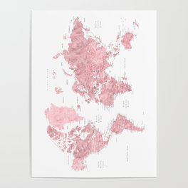Light pink, muted pink and dusty pink watercolor world map with cities Poster