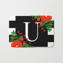 U - Monogram Black and White with Red Flowers Bath Mat