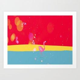 Flamingo at the beach Art Print