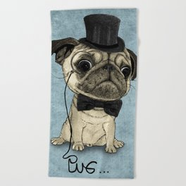 Pug; Gentle Pug (v3) Beach Towel