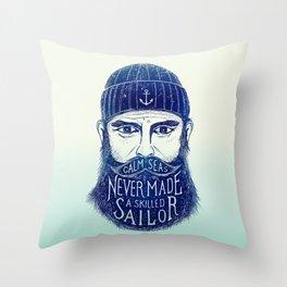 CALM SEAS NEVER MADE A SKILLED (Blue) Throw Pillow