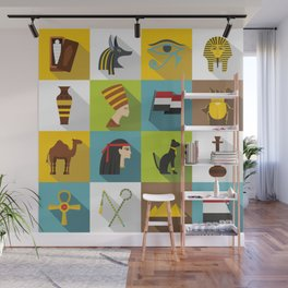 egypt travel items icons set flat style Wall Mural