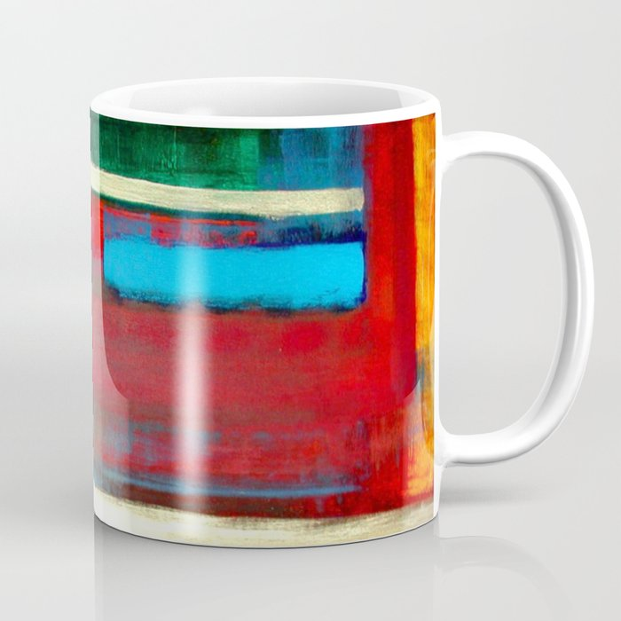 Philip Bowman Blue, Red And Gold Modern Abstract Art Painting Coffee Mug