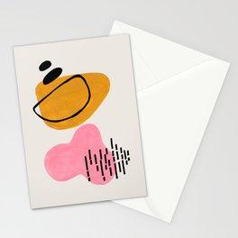 EnShape by Ejaaz Haniff 'Sun Fun Orbit' Mid Century Modern Minimalist Pink Yellow Funky Pastel Pattern Shapes Fun Pop Art Stationery Cards