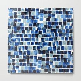 Indigo Blue Watercolor Check Metal Print