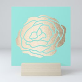 Rose in White Gold Sands on Tropical Sea Blue Mini Art Print