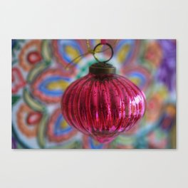 Pink Christmas Ball With Colorful Vintage Embroidery Background Canvas Print