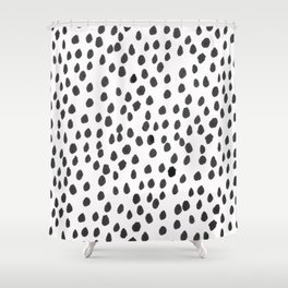 Hand painted monochrome dot pattern Shower Curtain