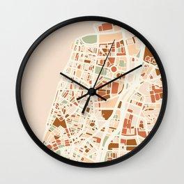 TEL AVIV ISRAEL CITY MAP EARTH TONES Wall Clock