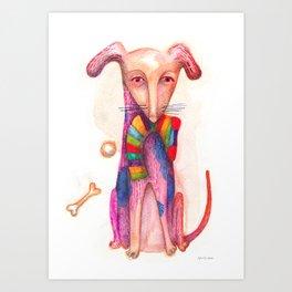 pet dog with precious toys Art Print
