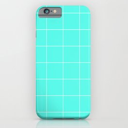 Graph Paper (White & Turquoise Pattern) iPhone Case