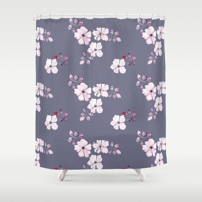 Pink on purple Shower Curtain
