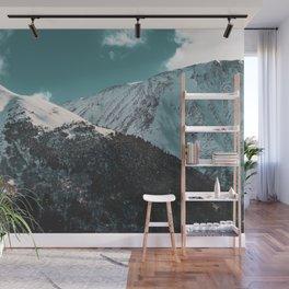 Snowy Mountains Under Teal Sky - Alaska Wall Mural