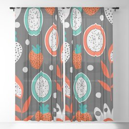 Strawberries and citrus fruits at night Sheer Curtain