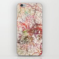 pittsburgh iPhone & iPod Skins featuring Pittsburgh by MapMapMaps.Watercolors