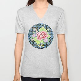 Brocade Bouquet Unisex V-Neck