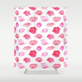 Watercolor pink lips pattern Shower Curtain