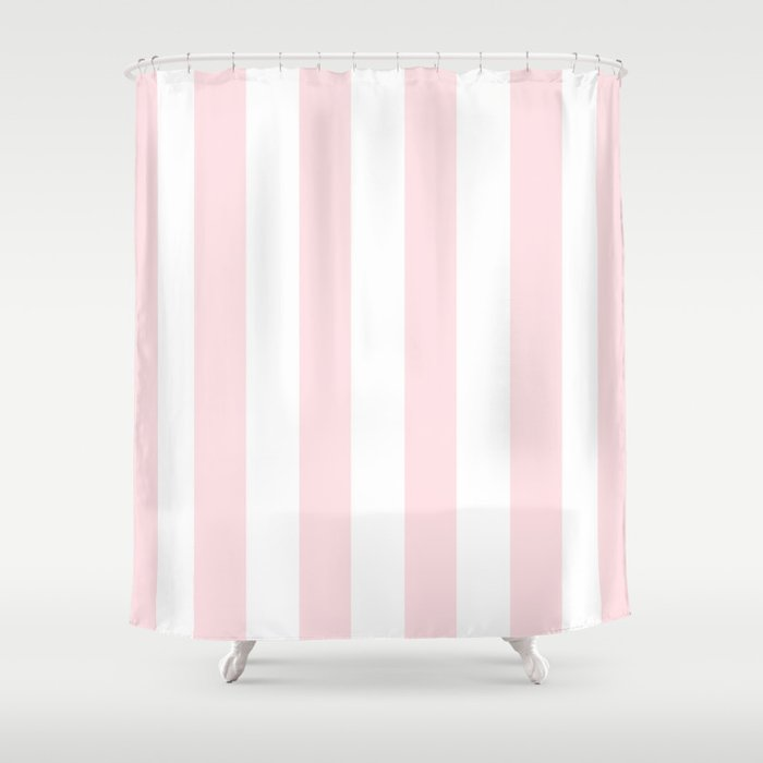 Simply Vertical Stripes Flamingo Pink On White Shower