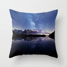 Milky Way over the Mountain Throw Pillow