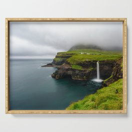 Gásadalur waterfall in Faroe islands Serving Tray