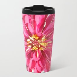 Pink Zinnia Metal Travel Mug