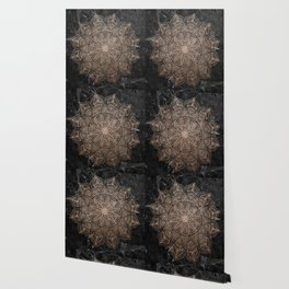 Mandala - rose gold and black marble 4 Wallpaper