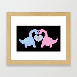 Adoring Apatosaurus Framed Art Print