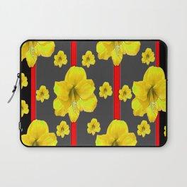 YELLOW AMARYLLIS BLACK-RED DECO ART Laptop Sleeve