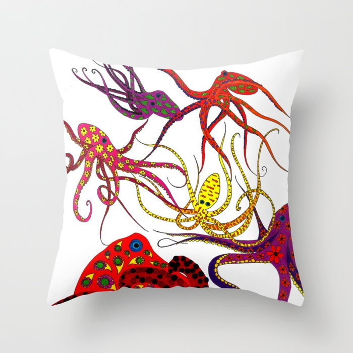 Consortium of Octopi Throw Pillow