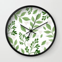 Plants with triangles Wall Clock