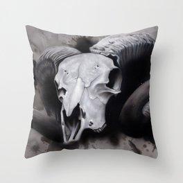 Ram Horns Throw Pillow