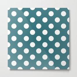 Ming - blue - White Polka Dots - Pois Pattern Metal Print