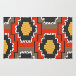 Shapes in red and grey Rug