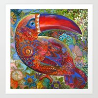 toucan Art Prints featuring Toucan by oxana zaika