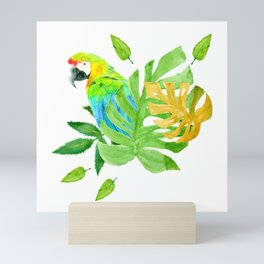 Parrot with Tropical Leaves Mini Art Print