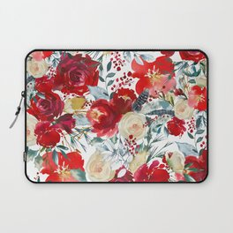 Red teal hand painted boho watercolor roses floral Laptop Sleeve