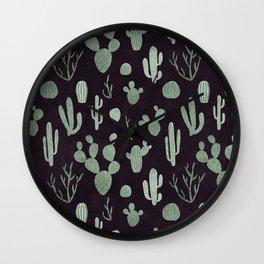 Grey green cacti on deep violet Wall Clock