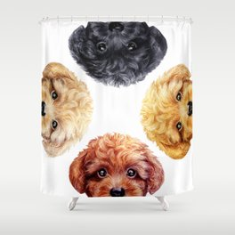 Toy poodle friends mix, Dog illustration original painting print Shower Curtain