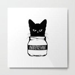 Cat Anti-Depressant Metal Print