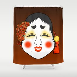 Okame Mask Shower Curtain