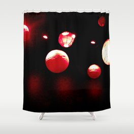 Crimson Orbs Shower Curtain