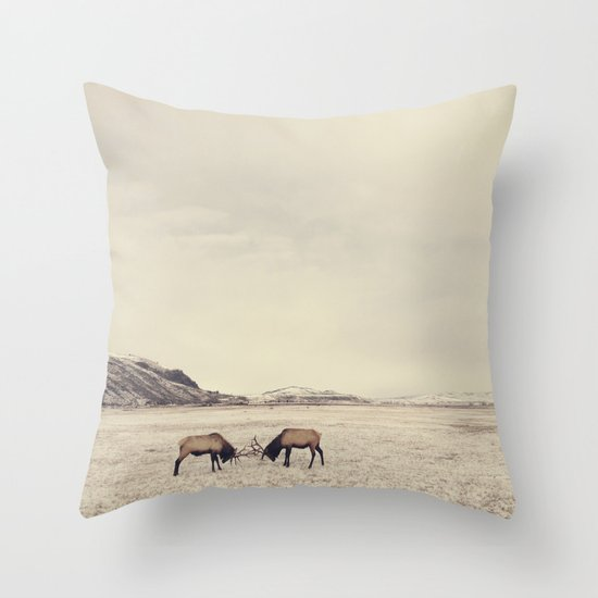 Throw Pillows With Wildlife : Sparring Elk in Wyoming - Wildlife Photography Throw Pillow by Stephanie Baker - The Dancing ...