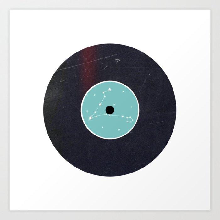Vinyl Record Star Sign Art | Pisces Art Print