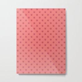 Burgundy Red on Coral Pink Snowflakes Metal Print
