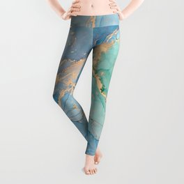 Luxury blue marble with glitter gold Leggings