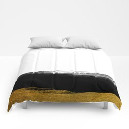 Black and Gold grunge stripes on clear white background - Stripe - Striped Comforters