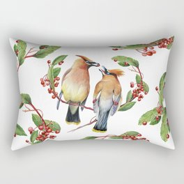 Cedar Waxwing Love Rectangular Pillow