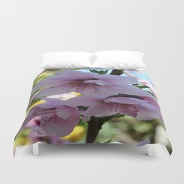 Pastel Shades of Peach Tree Blossom Duvet Cover